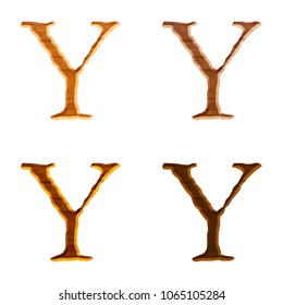 Assorted natural wood color letter Y (uppercase or capital) in a 3D illustration with a realistic wooden grain texture and jagged edge font isolated on a white background with clipping path.