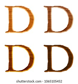 Assorted natural wood color letter D (uppercase or capital) in a 3D illustration with a realistic wooden grain texture and jagged edge font isolated on a white background with clipping path.