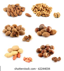 Assorted nuts, isolated on white background