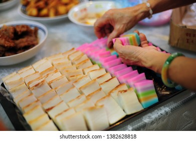 Assorted Nyonya sweet dessert or simply known as kueh or kuih served during wedding day in Malaysia.