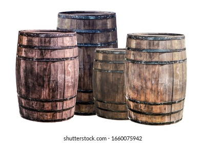 assorted oak barrels brown and gray standing in a group on a white background