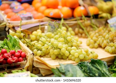 Assorted organic fruits sold on a marketplace in Genoa, Liguria, Italy