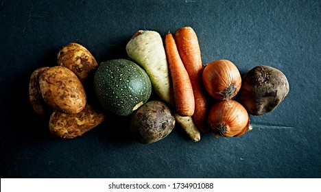 Assorted organic vegetables for healthy cooking. Flat lay