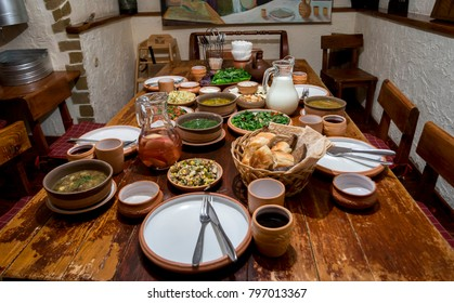 Assorted oriental food set. Famous Armenian,Georgian cuisine dishes on table. Top view. Eastern restaurant concept. Oriental style banquet