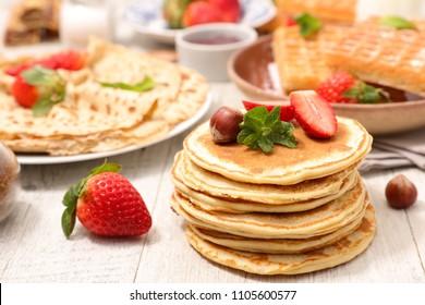 assorted pancake, waffle and crepe