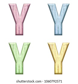 Assorted pastel color wooden letter Y (uppercase or capital) 3D illustration in pink blue green & yellow with a wood grain texture and bold font isolated on a white background with clipping path.