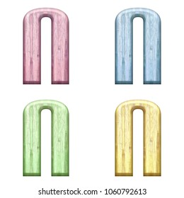 Assorted pastel color wooden letter N (uppercase or capital) 3D illustration in pink blue green & yellow with a wood grain texture and bold font isolated on a white background with clipping path.