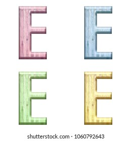 Assorted pastel color wooden letter E (uppercase or capital) 3D illustration in pink blue green & yellow with a wood grain texture and bold font isolated on a white background with clipping path.