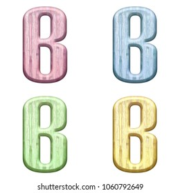 Assorted pastel color wooden letter B (uppercase or capital) 3D illustration in pink blue green & yellow with a wood grain texture and bold font isolated on a white background with clipping path.