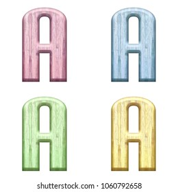 Assorted pastel color wooden letter A (uppercase or capital) 3D illustration in pink blue green & yellow with a wood grain texture and bold font isolated on a white background with clipping path.