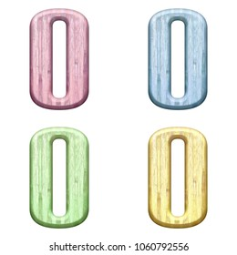 Assorted pastel color wooden uppercase or capital letter O or number zero 0 3D illustration in a pink blue green & yellow bold font isolated on a white background with clipping path.