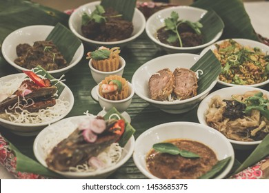 Assorted Peranakan dishes in a peranakan feast in a fine dining restaurant