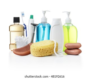 assorted personal hygiene products on white background
