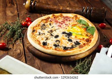 Assorted pizza on the table