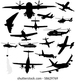 assorted plane, helicopter and microlight silhouettes illustration JPEG