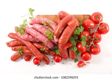 assorted raw sausage for barbecue