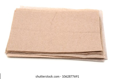 Assorted Recycled Paper Napkins Isolated on White Background