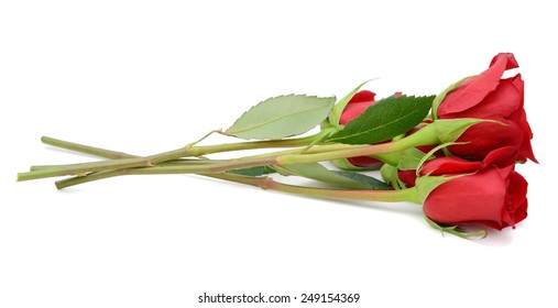 Assorted red rose bunch isolated white