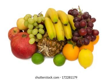 Assorted ripe juicy fruits isolated on white background