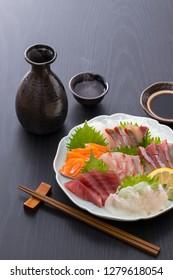 Assorted sashimi and Japanese sake