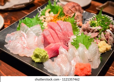 Assorted sashimi platter/Sashimi is fillet of raw fish/It is a very healthy food and is a favorite of Japanese people.