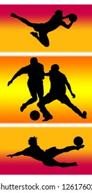 Assorted soccer players silhouettes over colored background