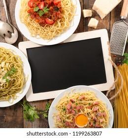 assorted spaghetti meal