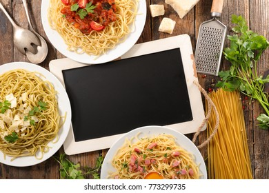 assorted spaghetti with sauce and ingredient