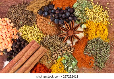 Assorted spices on a wooden board