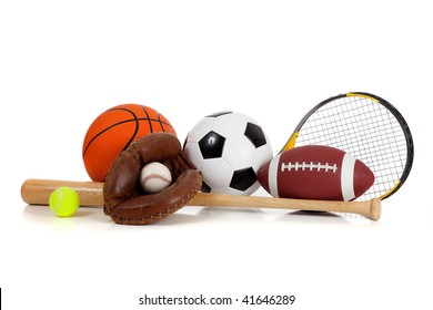 Assorted sports equipment including a basketball, soccer ball, tennis ball, baseball, bat, tennis racket, football and baseball glove on a white background
