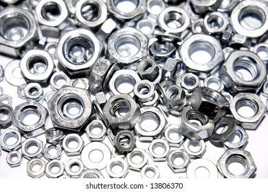 Assorted steel nuts