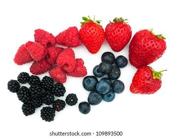 Assorted summer berries - strawberries, blueberries, blackberries