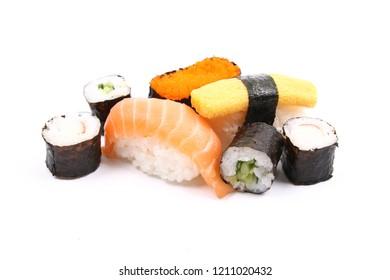 Assorted sushi on white background