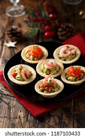 Assorted tartlets with shrimps and salmon