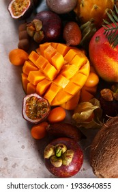 assorted tropical exotic fruits on the table