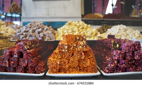 Assorted Turkish Delight bars (Sugar coated soft candy with nuts) or Lokum (Locum) on Grand Bazaar, Turkey