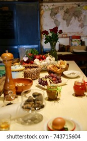 An assorted variety of foods beautifully set out on the counter