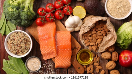 assorted vegetable, salmon and fruit