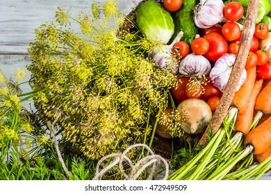 Assorted vegetables, organic produce in basket, vegetarian food background