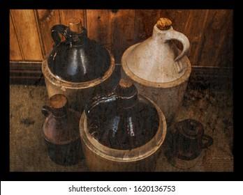 Assorted vintage moonshine jugs against wood paneling