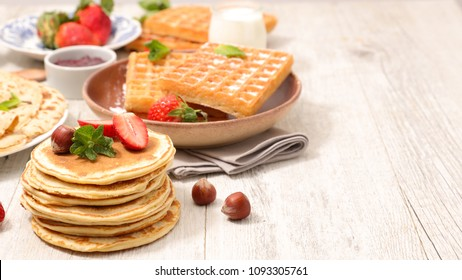 assorted waffle, pancake and crepe