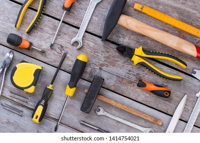 Assorted woodwork, carpentry or construction tools. Background of construction instruments. Equipment for building.