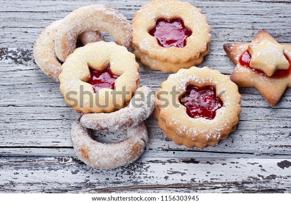 Assortement Christmas Cookies Vanilla Kipferl Linzer Stock Photo