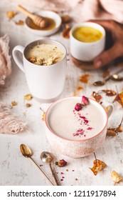 Assortiment of Turmeric Golden Milk, Rose Moon Milk, Chamomile Moon Milk and Hibiscus Moon Milk, Winter Hot Beverage