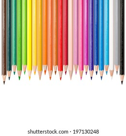 Assortment of 24 colored pencils in front of white background, color concept