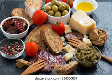 assortment of antipasti, horizontal