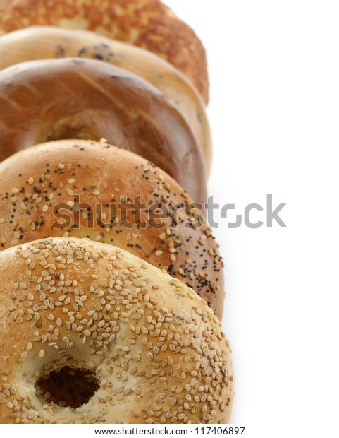 Assortment Of Bagels On White Background