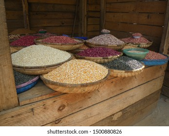 Assortment of beans on a market stall in Malawi