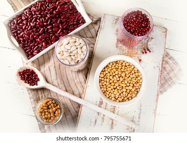 Assortment of beans. Top view