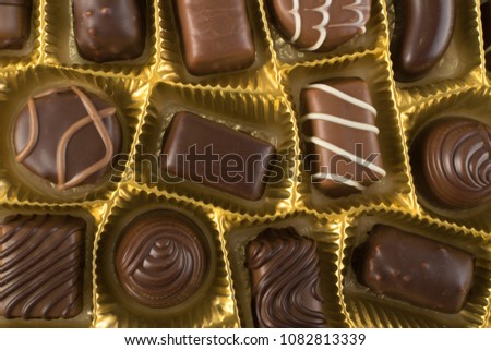 Assortment Beautiful Sweet Chocolates Box Top Stock Photo Edit Now
